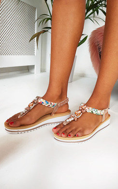 View the Lolita Jewelled T-Bar Sandals online at iKrush