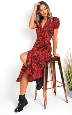 View the Lolita Wrap Front Heart Midi Dress online at iKrush