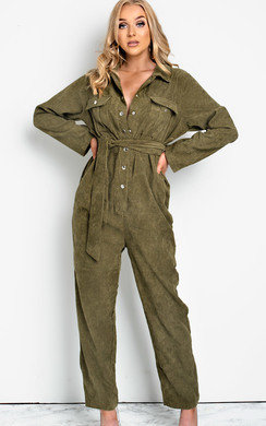 View the Loren Cord Button Up Jumpsuit online at iKrush