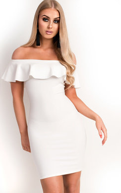 View the Lori Bardot Frill Bandage Dress online at iKrush