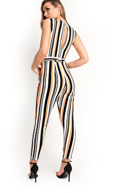 View the Lorn Stripe Tie Waist Jumpsuit online at iKrush
