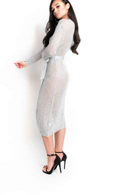View the Lorna Metallic Knit Dress  online at iKrush