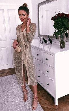 View the Lorna Metallic Knit Dress  online at iKrush