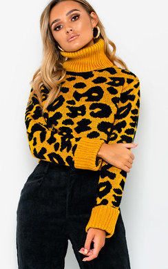 View the Lorna Roll Neck Knitted Cropped Jumper online at iKrush