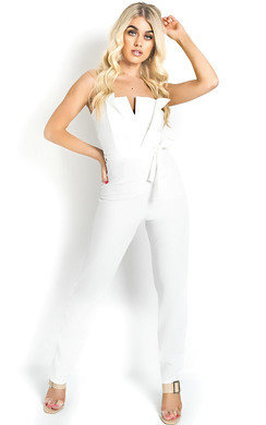 View the Lottie Strapless Tie Waist Jumpsuit online at iKrush