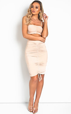 View the Lou Bodycon Ruched Skirt Co-ord online at iKrush
