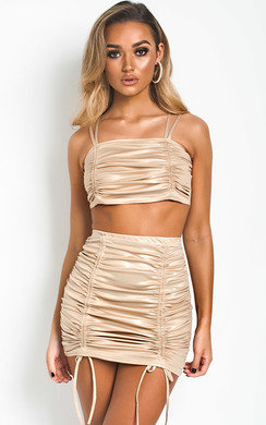 View the Louise Metallic Bodycon Ruched Co-ord online at iKrush