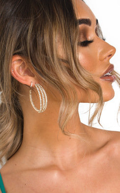 View the Lovisa Triple Band Diamante Hoop Earrings  online at iKrush