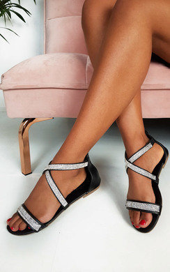 View the Lucie Diamante Embellished Strappy Sandals online at iKrush