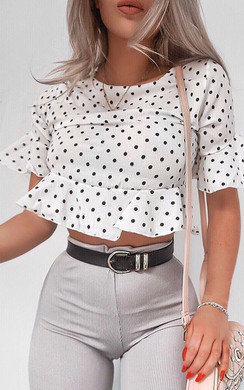 View the Lucie Polka Dot Frill Crop Top online at iKrush