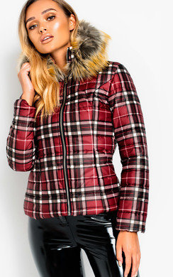 View the Lullah Padded Checked Jacket online at iKrush