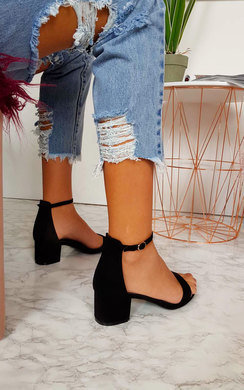 View the Lulu Barely There Faux Suede Block Heels  online at iKrush