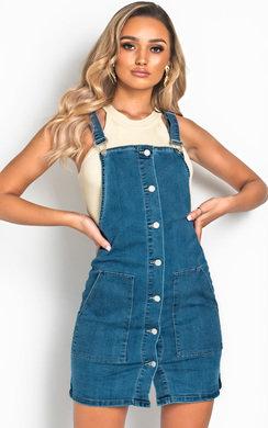 View the Luna Denim Button Mini Dress online at iKrush