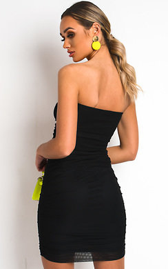View the Luna Ruched Mesh Bodycon Dress online at iKrush