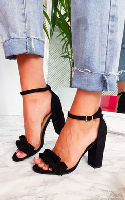 View the Lyla Barely There Frill Block Heels online at iKrush