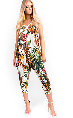 View the Lyla Harem Stretch Tropical Jumpsuit online at iKrush