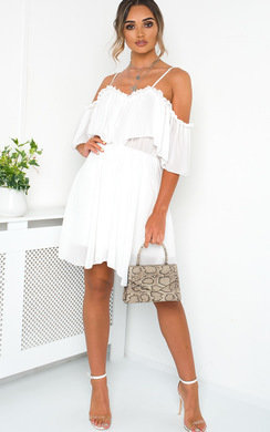View the Lyla Off Shoulder Frill Playsuit online at iKrush