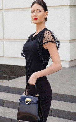 View the Lyla Polka Dot Frilled Sleeve Top online at iKrush