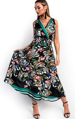 View the Macey Satin Floral Maxi Dress online at iKrush