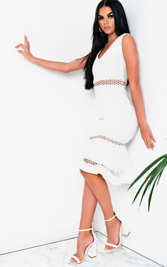 View the Macie Frill Cut-out Midi Dress  online at iKrush