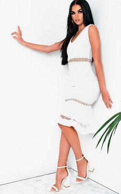 View the Macie Frill Cut-out Midi Dress  online at iKrush
