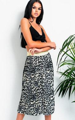 View the Madi Pleated Leopard Print Midi Skirt online at iKrush