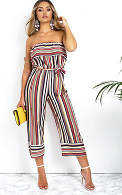 View the Madison Stripe Bandeau Wide Leg Jumpsuit  online at iKrush