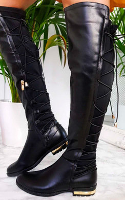 View the Mads Faux Leather Lace Back Knee High Boots online at iKrush