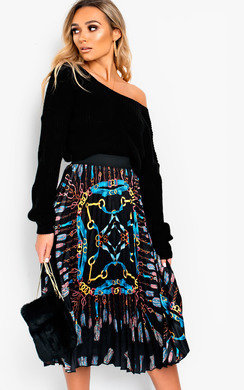 View the Maia Chain Detail Pleated Midi Skirt online at iKrush
