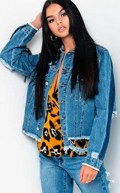 View the Mallin Distressed Striped Denim Jacket online at iKrush