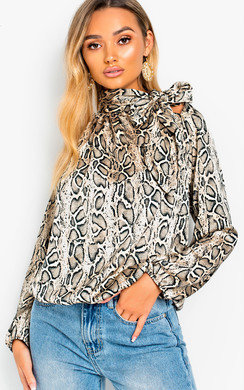 View the Mandi Tie Neck Print Blouse Shirt online at iKrush