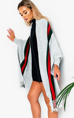 View the Manny Stripe Wrap Knit Cape online at iKrush