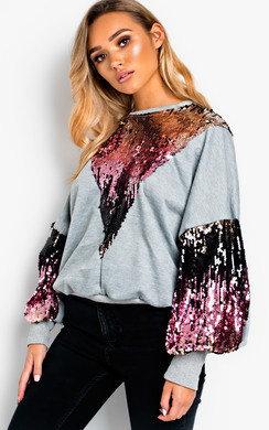 View the Maren Sequin Oversized Jumper  online at iKrush