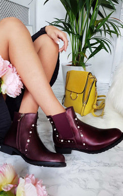View the Maria Pearl Studded Ankle Boots online at iKrush