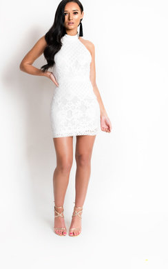 View the Mariah High Neck Collar Lace Dress online at iKrush