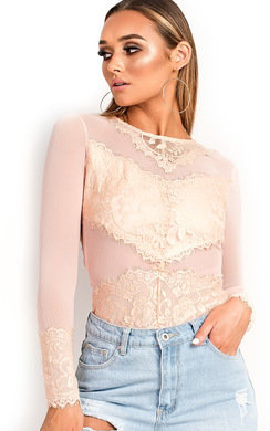 View the Mariana Long Sleeved Lace Bodysuit online at iKrush