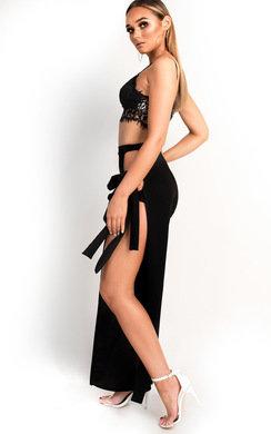 View the Marisa Wide Leg Tie Split Trousers online at iKrush