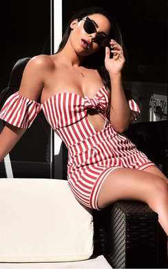 View the Marnie Off Shoulder Stripe Playsuit online at iKrush