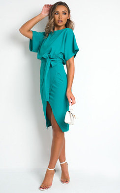View the Mary Batwing Split Midi Dress online at iKrush