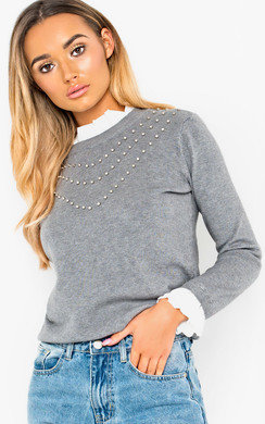 View the May Frill Shirt Collar Studded Jumper online at iKrush