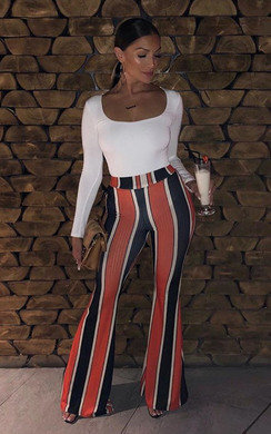 View the Maya High Waist Stripe Wide Leg Trousers online at iKrush
