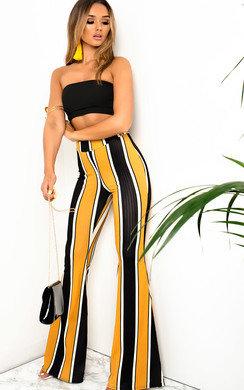 View the Maya High Waist Stripe Wide Leg Trousers online at iKrush