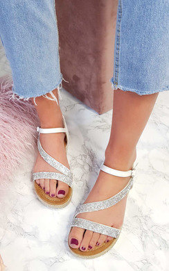 View the Maylie Diamante Flatform Sandals online at iKrush