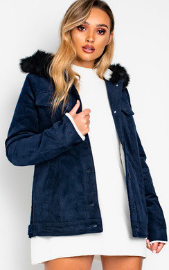 View the Mayne Faux Fur Hooded Cord Jacket  online at iKrush