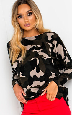 View the Meave Knitted Camo Print Jumper  online at iKrush