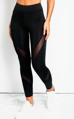View the Melani Lycra Mesh Panel Leggings Diagonal  online at iKrush