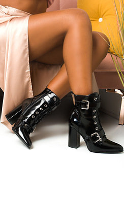 View the Melanie Buckle Heeled Boots  online at iKrush