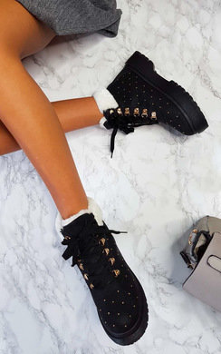 View the Melanie Faux Fur Lace Up Studded Boots online at iKrush