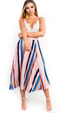 View the Melinda Pleated Stripe Midi Skirt online at iKrush