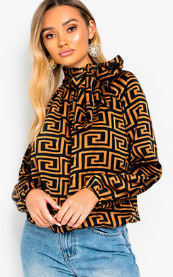 View the Melinda Tie Neck Print Blouse Shirt online at iKrush